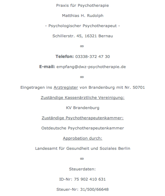 Impressum psychotherapie be